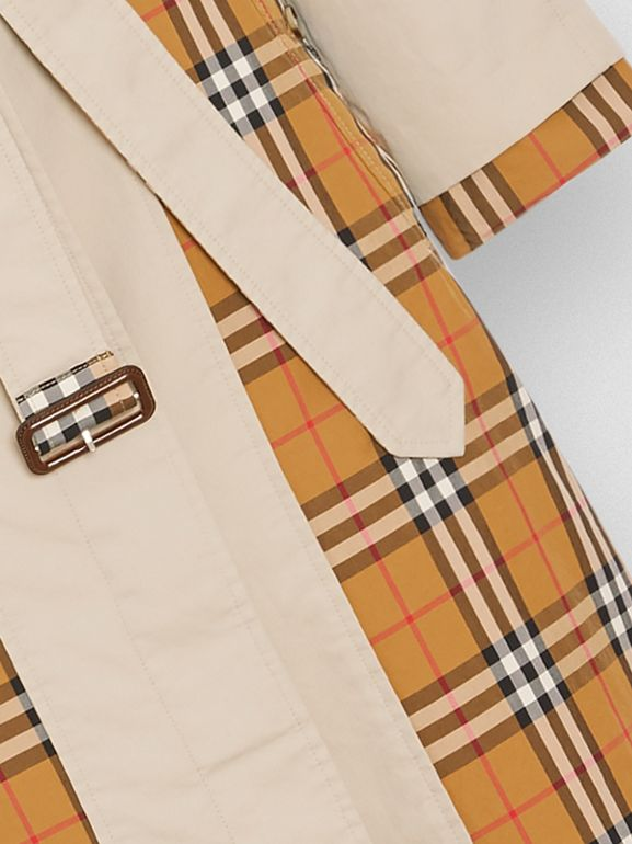 Vintage Check and Tropical Gabardine Car Coat in Stone - Women | Burberry United Kingdom - cell image 1
