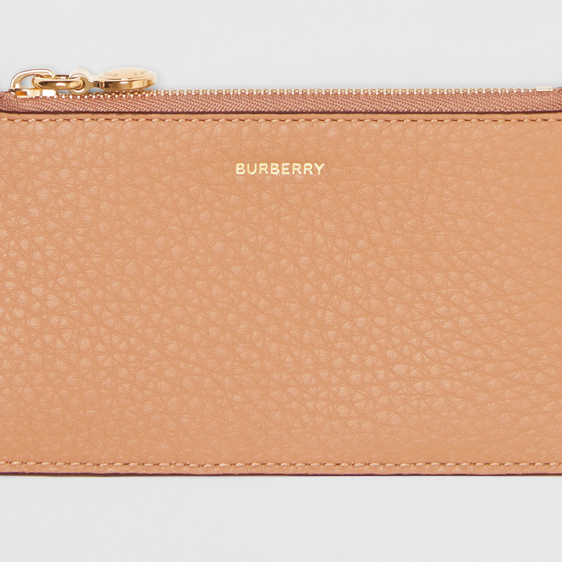 Leather Zip Card Case in Light Camel - Women | Burberry Australia - gallery image 1