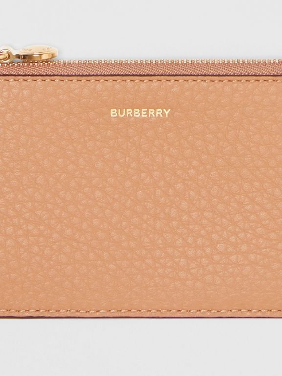 Leather Zip Card Case in Light Camel - Women | Burberry Australia - cell image 1