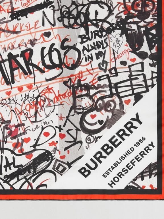 Graffiti Print Silk Square Scarf in Natural White | Burberry - cell image 1