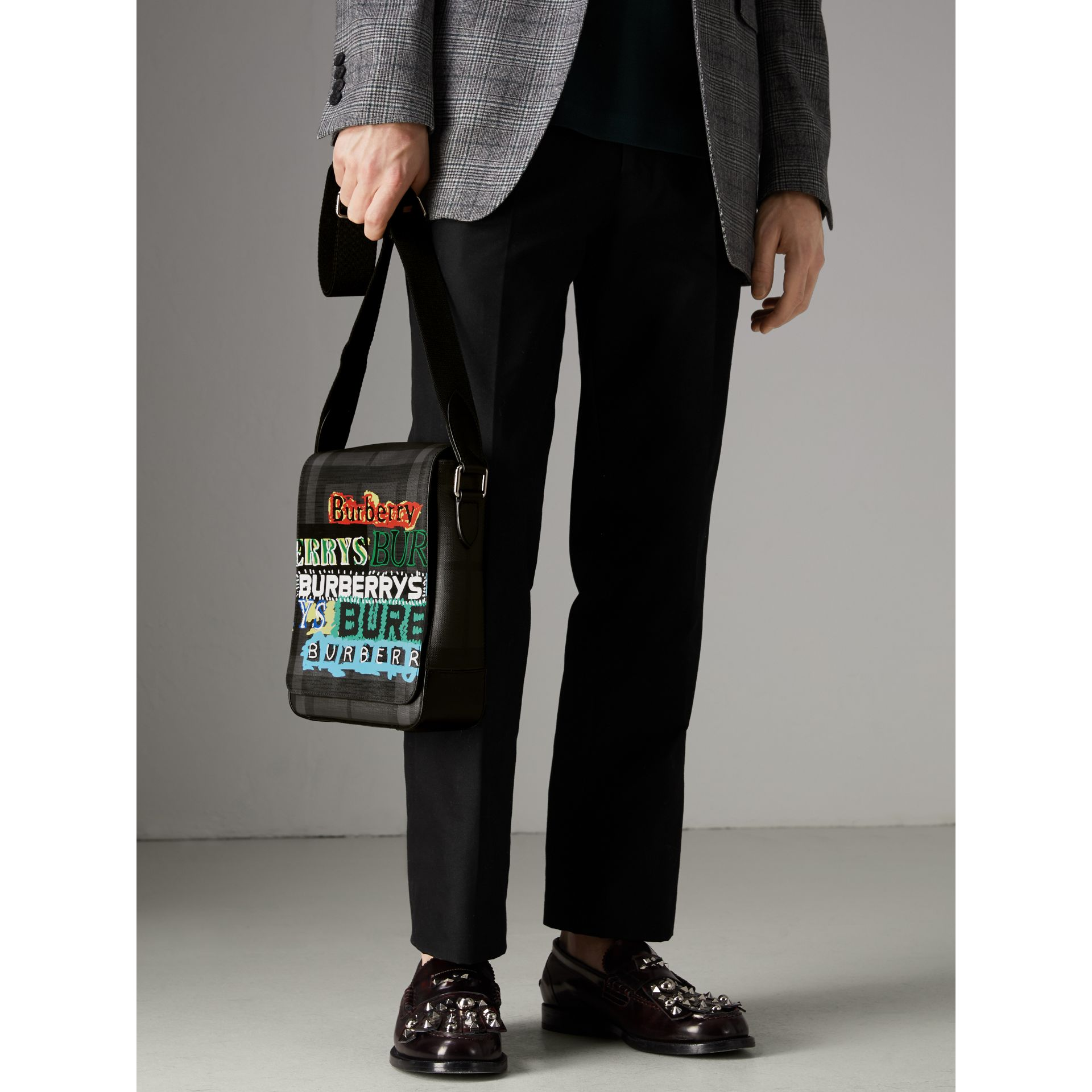 Tag Print London Check Crossbody Bag in Charcoal - Men | Burberry - gallery image 3