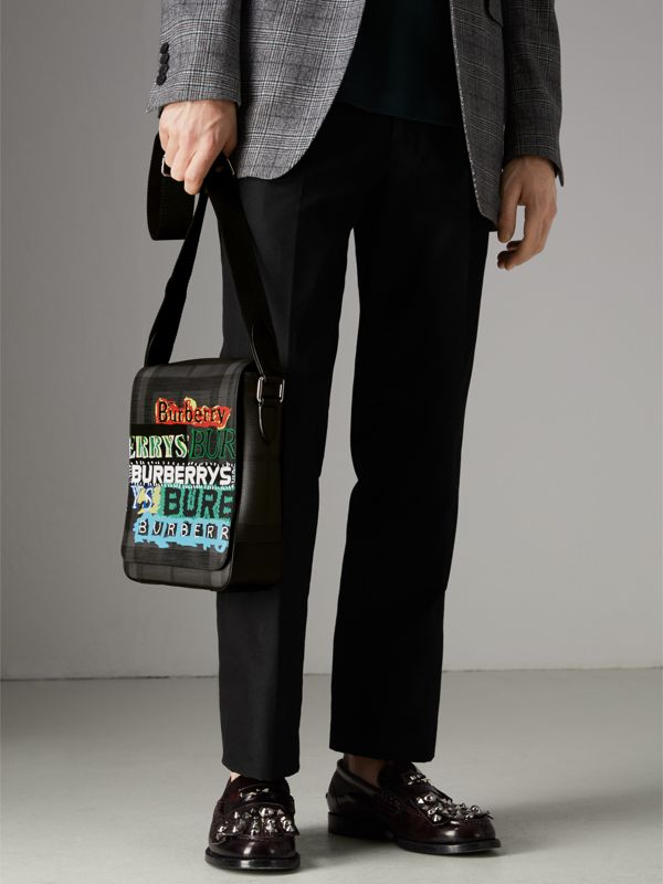 Tag Print London Check Crossbody Bag in Charcoal - Men | Burberry - cell image 3