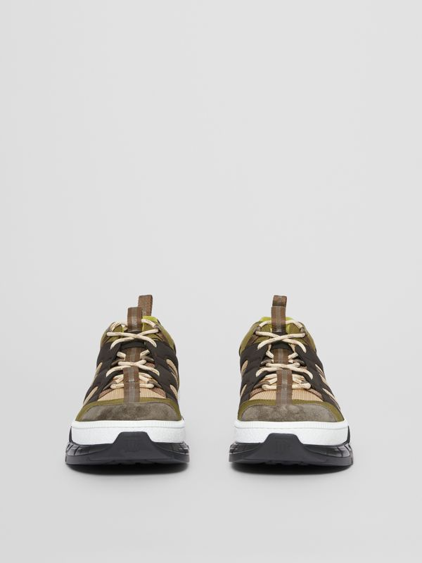 Mesh and Suede Union Sneakers in Khaki / Brown - Men | Burberry - cell image 2