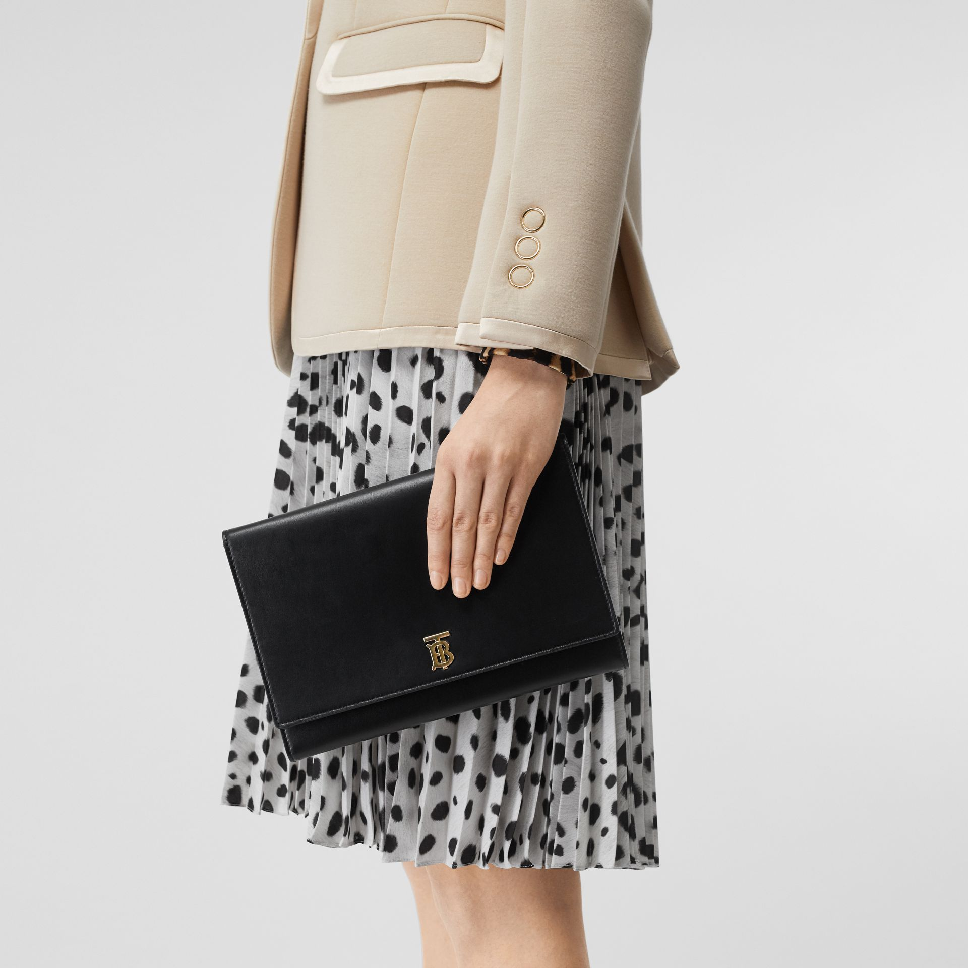 Monogram Motif Leather Bag with Detachable Strap in Black - Women | Burberry United Kingdom - gallery image 2