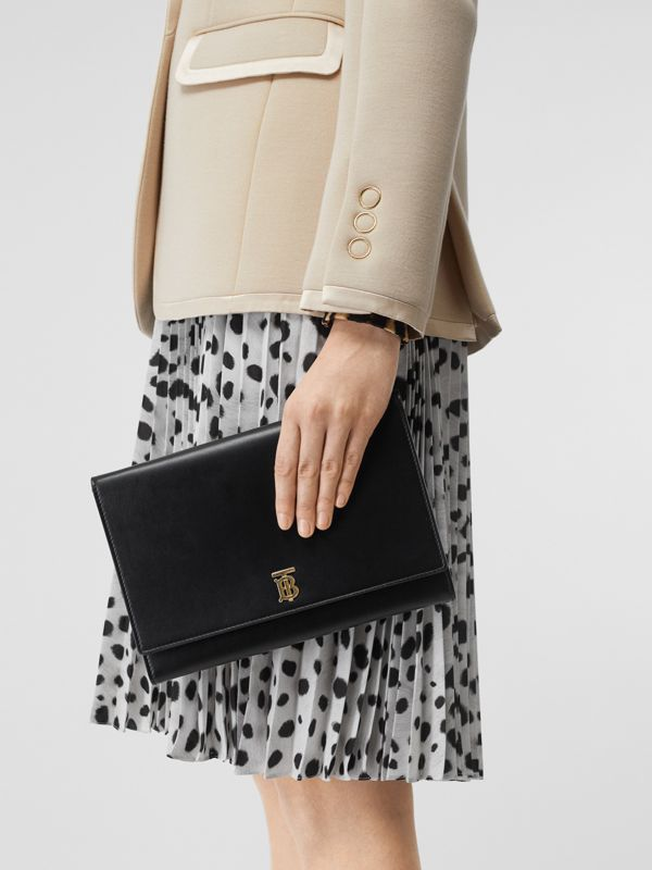 Monogram Motif Leather Bag with Detachable Strap in Black - Women | Burberry Australia - cell image 2