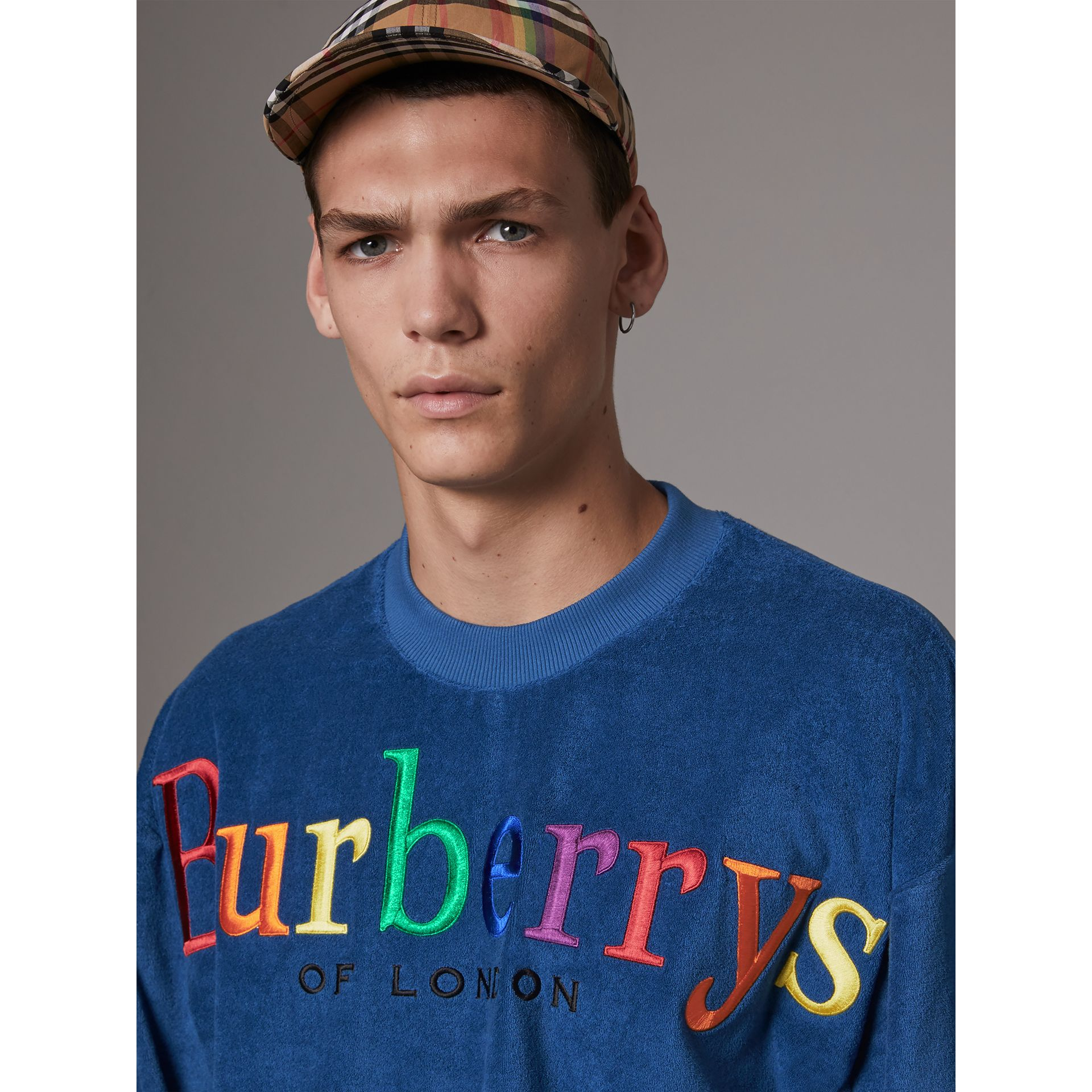 Archive Logo Towelling Sweatshirt in Canvas Blue - Men | Burberry - gallery image 1