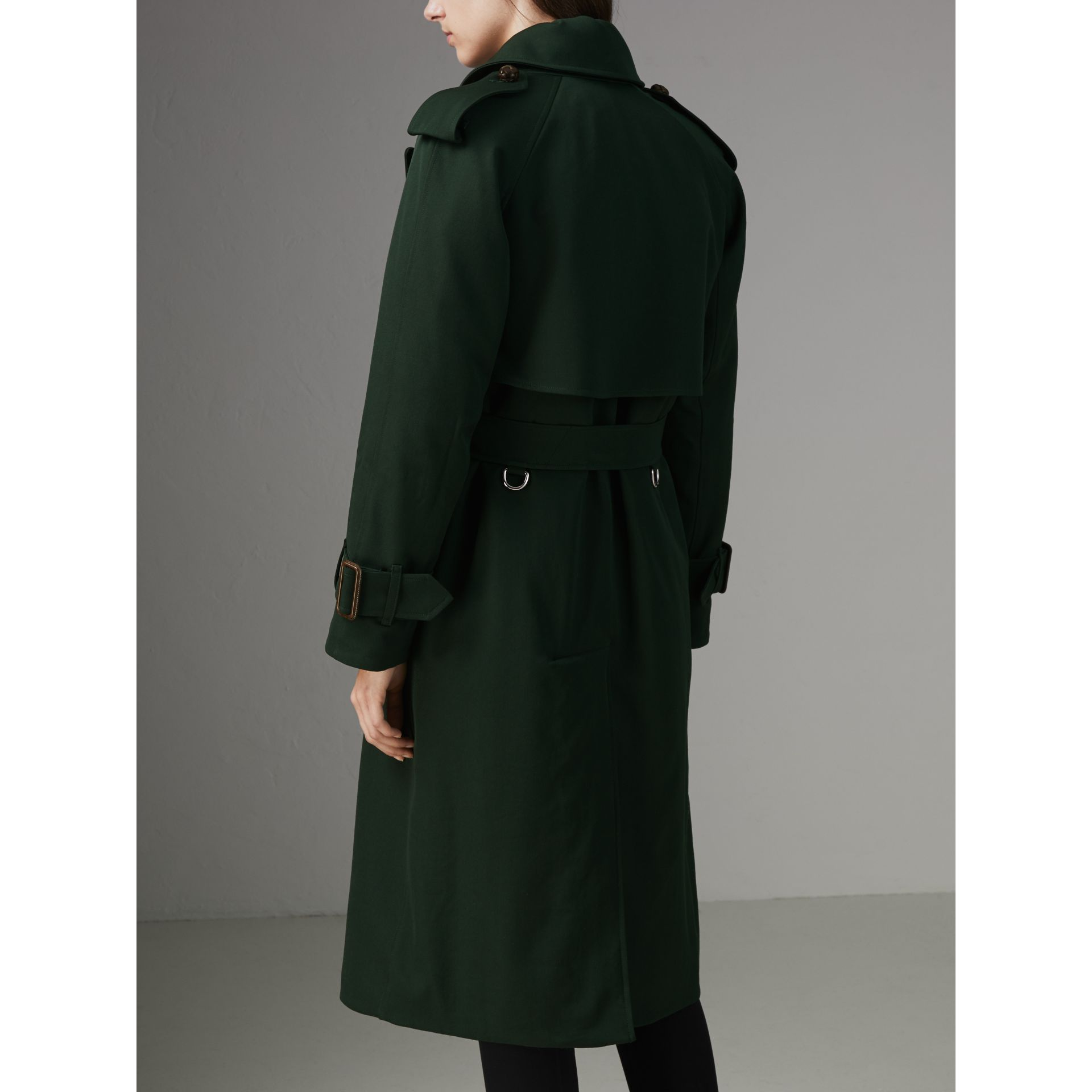 Oversized Lapel Wool Gabardine Trench Coat in Dark Cedar Green - Women | Burberry Canada - gallery image 1
