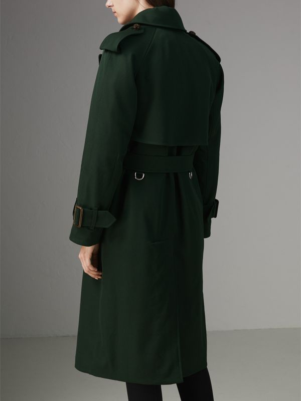 Oversized Lapel Wool Gabardine Trench Coat in Dark Cedar Green - Women | Burberry Hong Kong - cell image 2