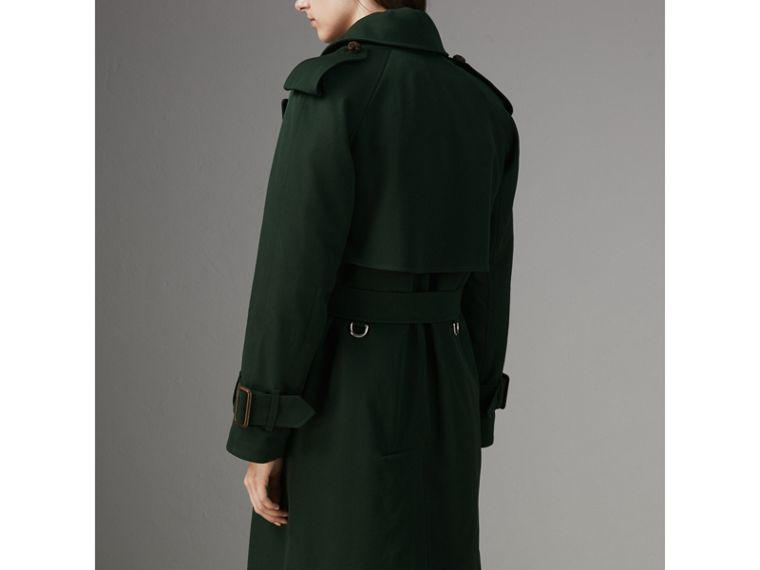Oversized Lapel Wool Gabardine Trench Coat in Dark Cedar Green - Women | Burberry Australia - cell image 1