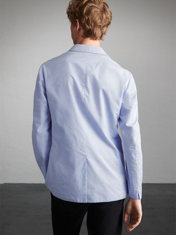 Lightweight Cotton Chambray Blazer in Pale Blue - Men | Burberry - cell image 2