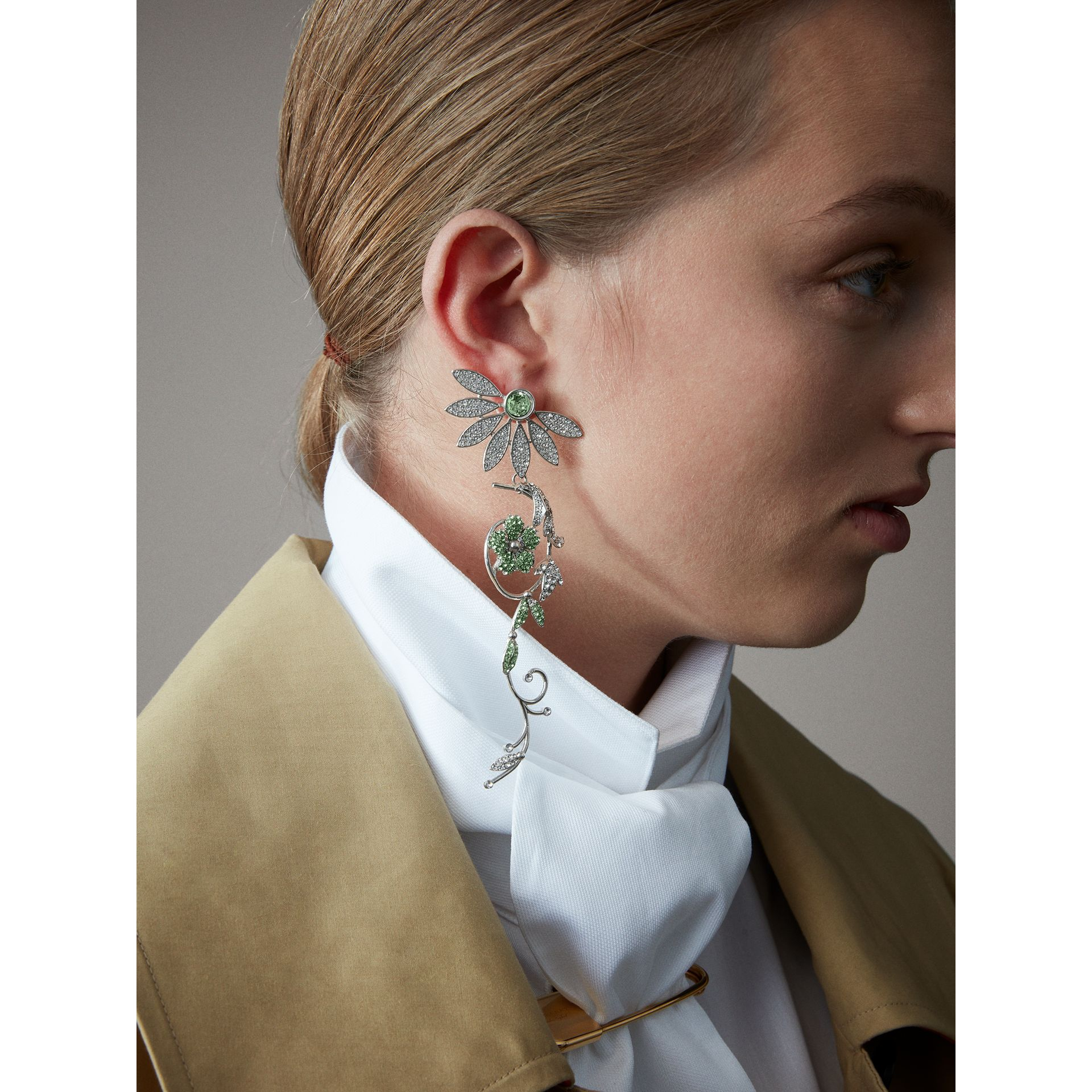 Crystal Half-daisy Drop Earring and Stud Set in Peridot Green - Women | Burberry United Kingdom - gallery image 2