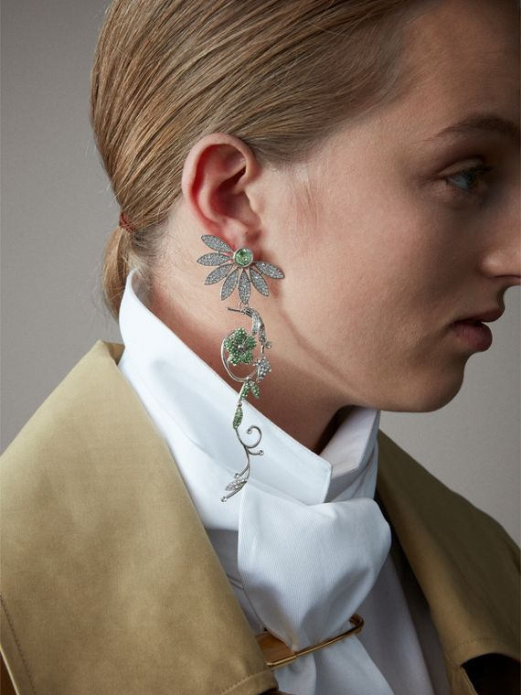 Crystal Half-daisy Drop Earring and Stud Set in Peridot Green - Women | Burberry Australia - cell image 2