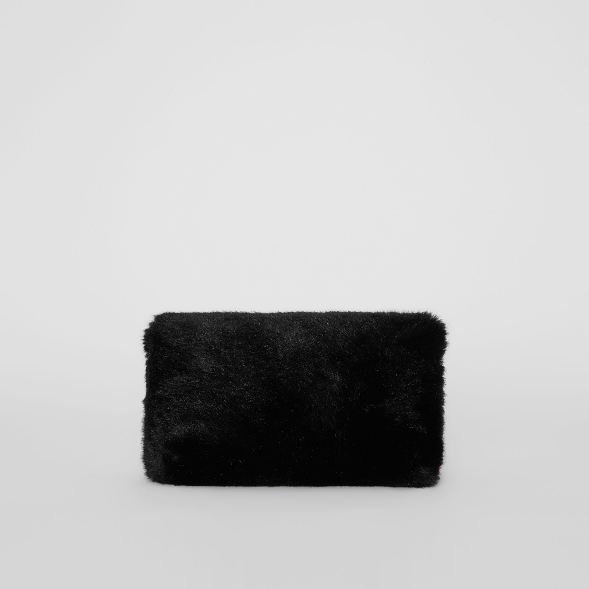 The Medium Pin Clutch in Faux Fur in Black - Women | Burberry - gallery image 5