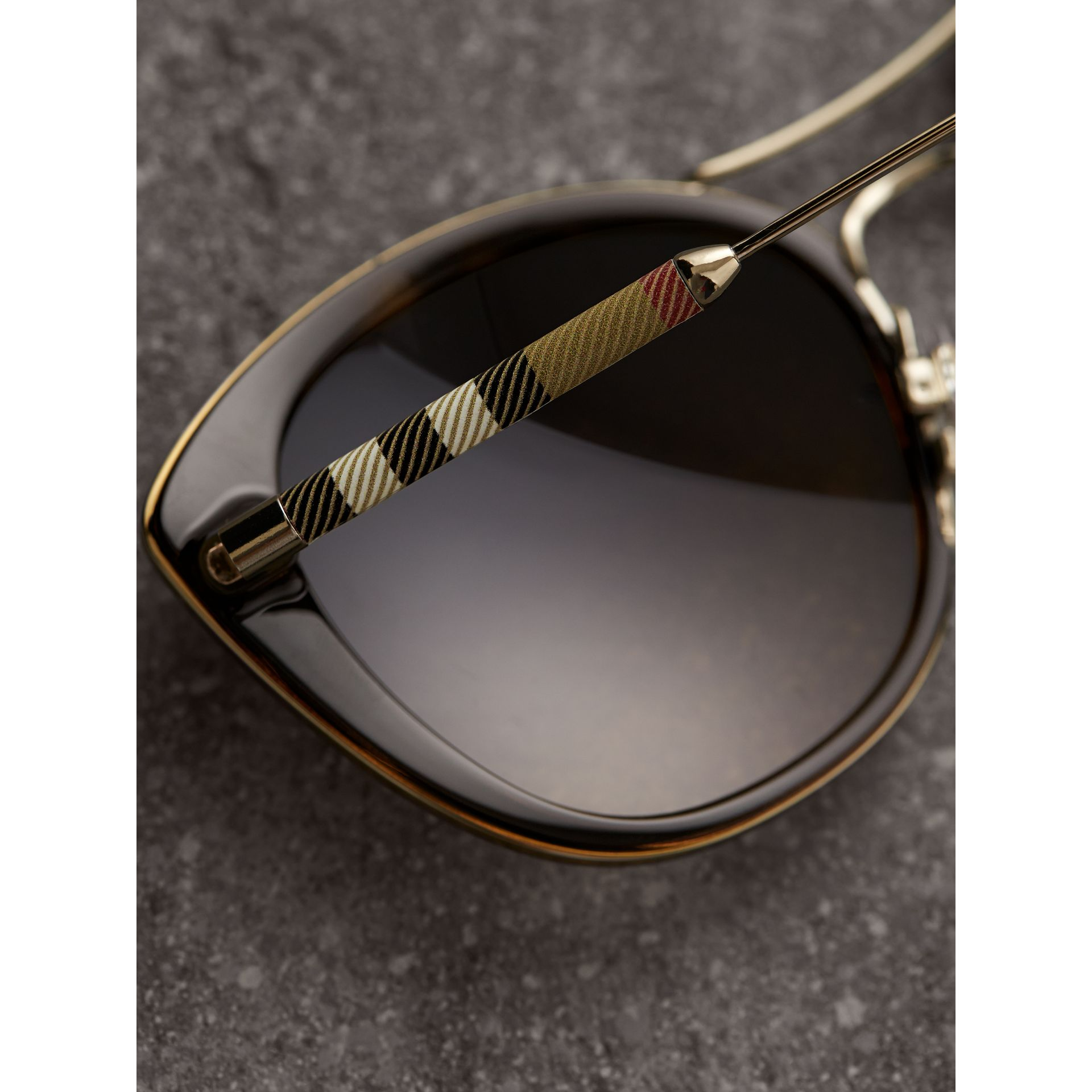 Check Detail Round Frame Sunglasses in Dark Brown - Women | Burberry - gallery image 1