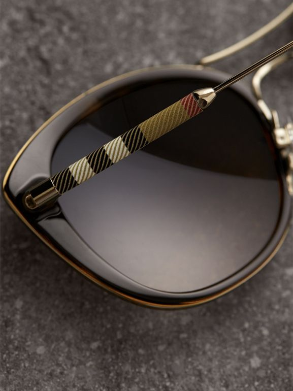 Check Detail Round Frame Sunglasses in Dark Brown - Women | Burberry - cell image 1