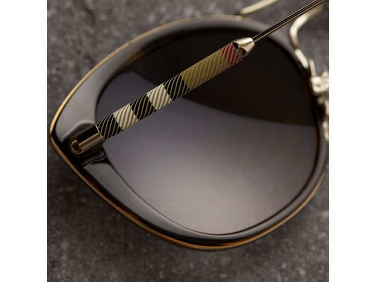 Check Detail Round Frame Sunglasses in Dark Brown - Women | Burberry Hong Kong - cell image 1