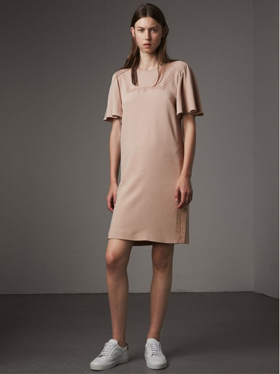 Flare-sleeve Lace Detail Crepe Dress - Women | Burberry