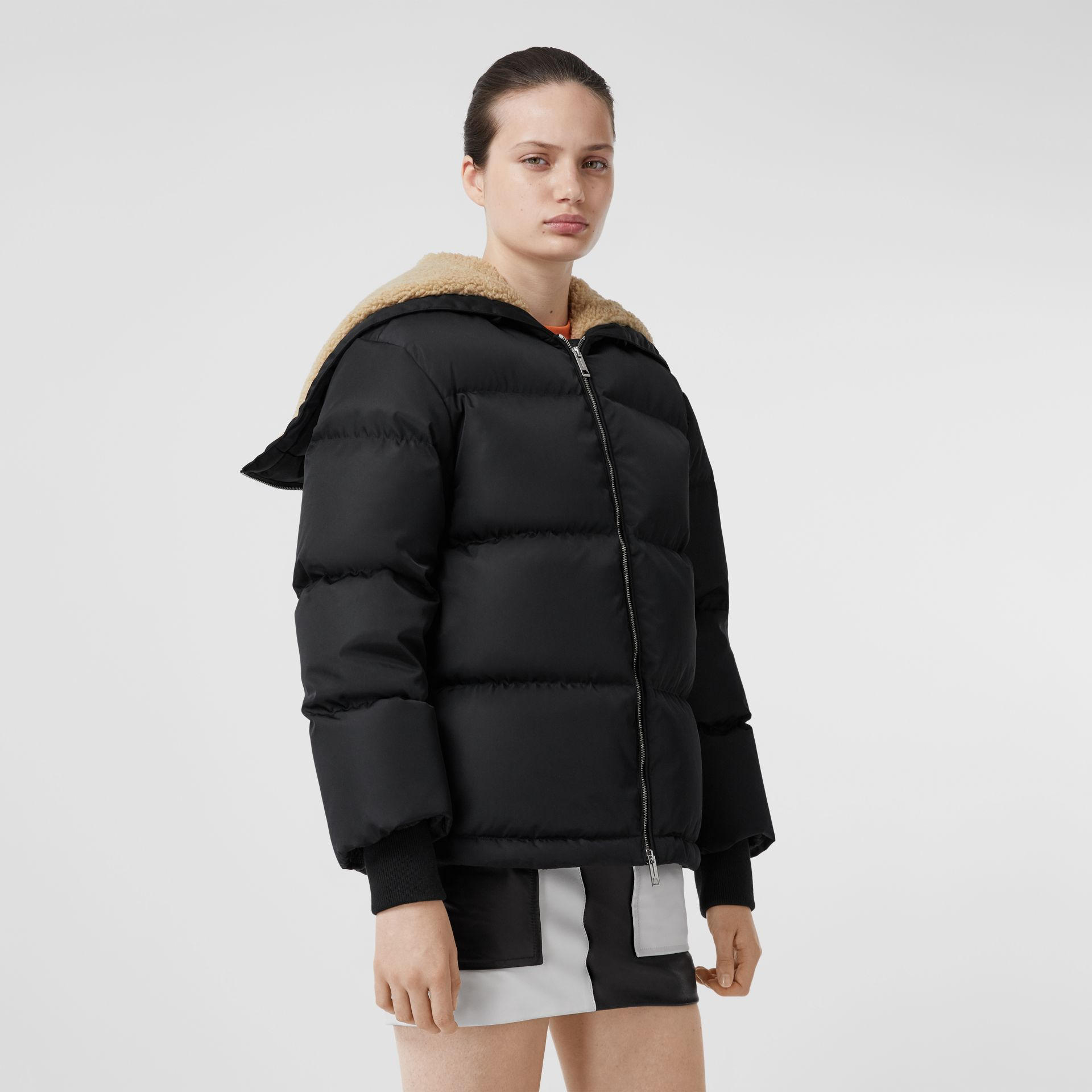 Logo Detail ECONYL® Puffer Jacket in Black - Women | Burberry - gallery image 6