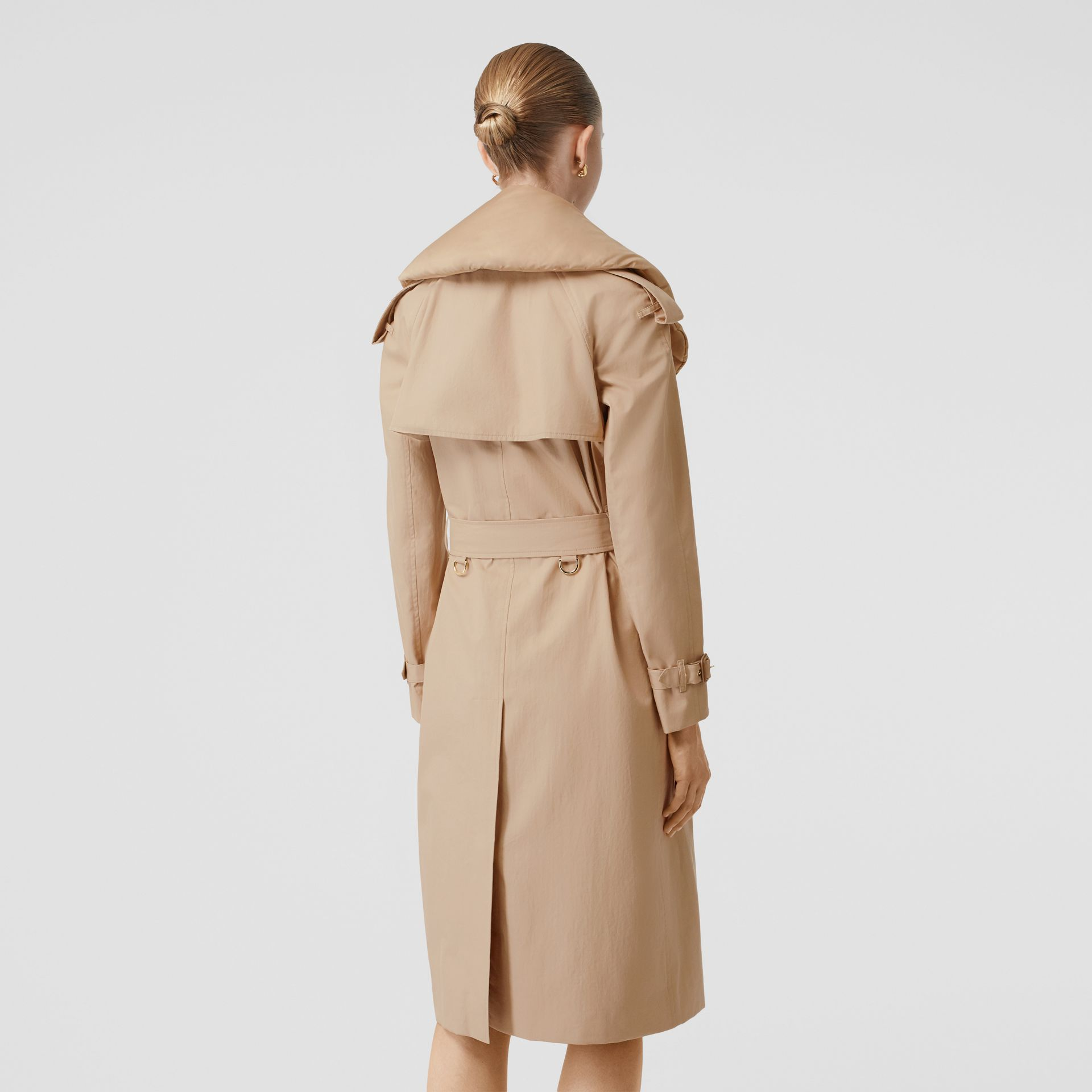 Detachable Collar Cotton Gabardine Trench Coat in Ecru - Women | Burberry United Kingdom - gallery image 2