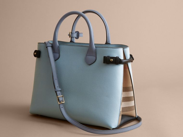 The Medium Banner in Tri-tone Leather and House Check in Pale Opal/slate Blue - Women | Burberry Australia - cell image 4