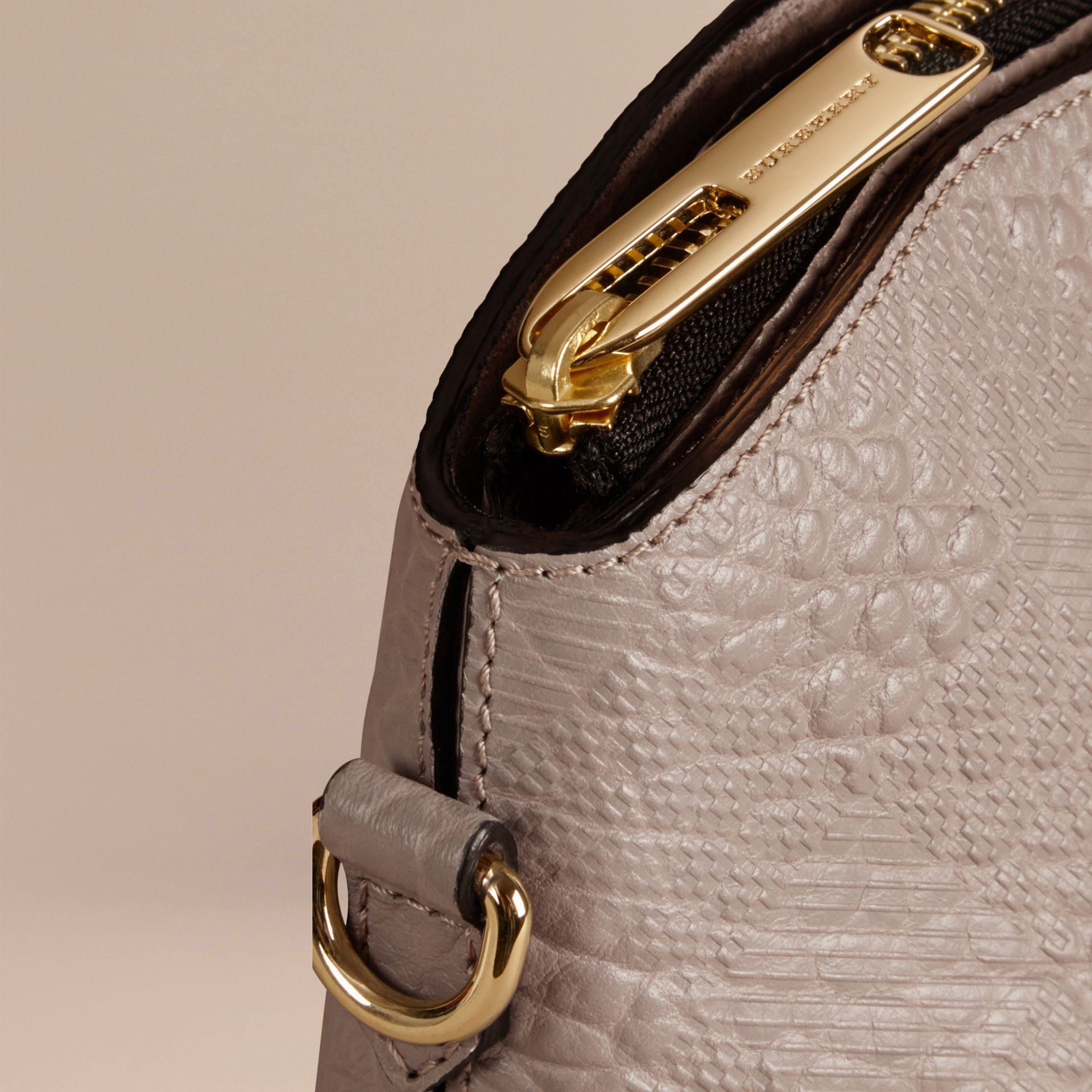 Small Embossed Check Leather Clutch Bag in Pale Grey - gallery image 6