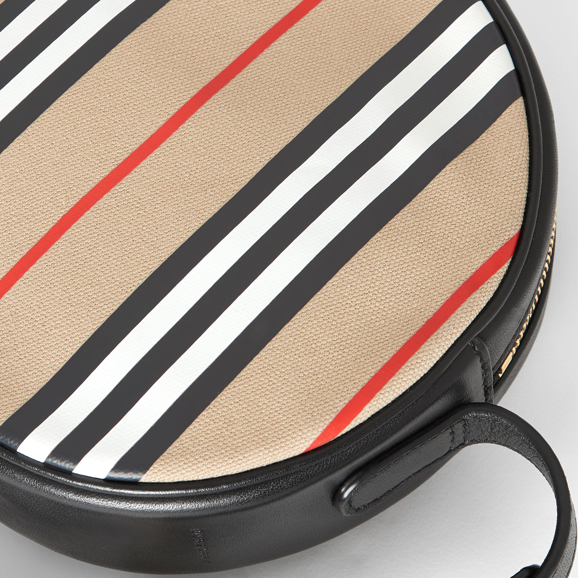 Icon Stripe Cotton Crossbody Bag in Honey/black - Children | Burberry - gallery image 1
