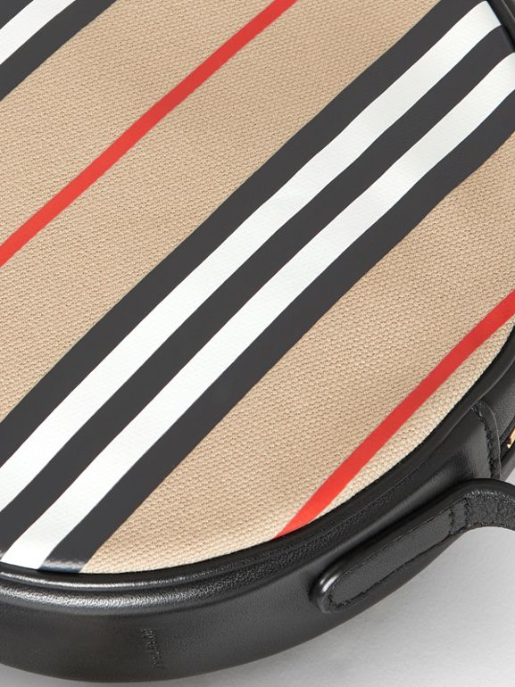 Icon Stripe Cotton Crossbody Bag in Honey/black - Children | Burberry - cell image 1