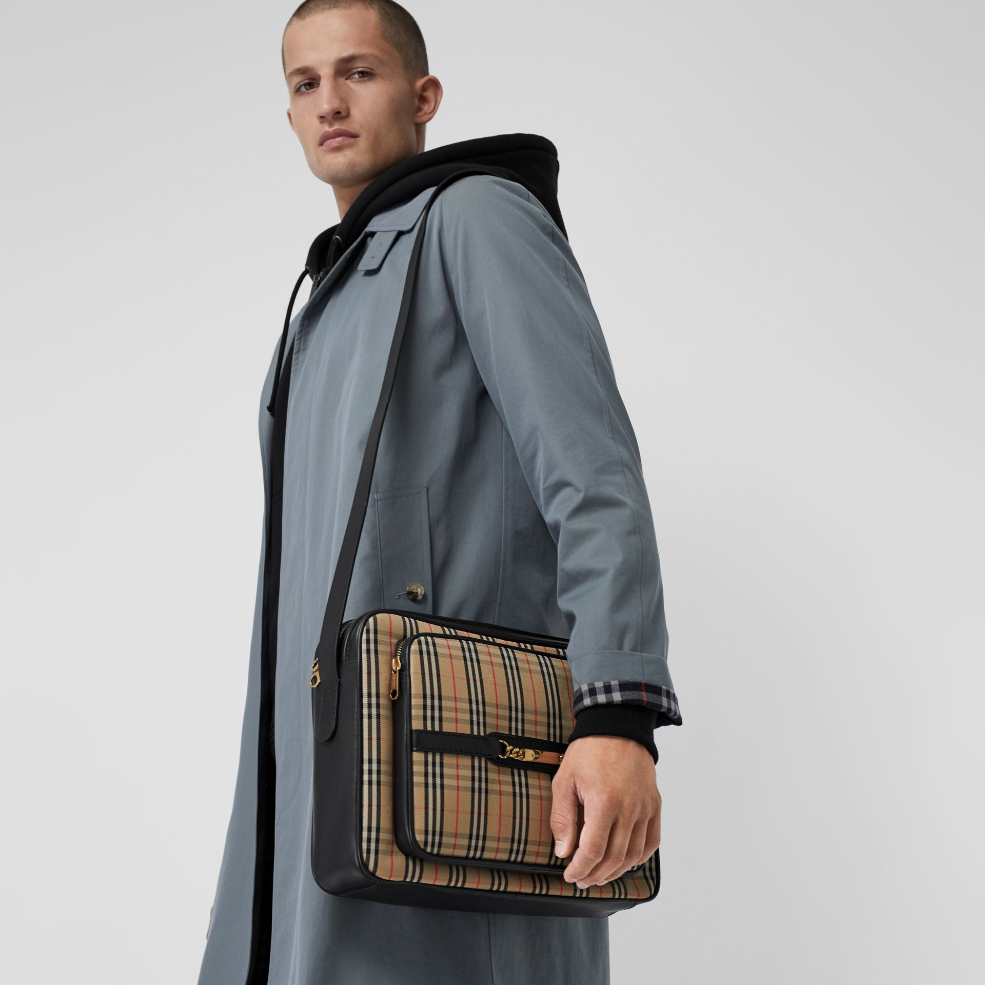 The Large 1983 Check Link Camera Bag in Black - Men | Burberry United Kingdom - gallery image 5