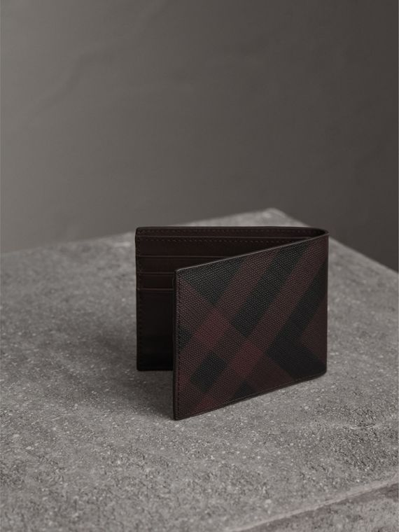 London Check Bifold Wallet in Deep Claret - Men | Burberry United Kingdom - cell image 2