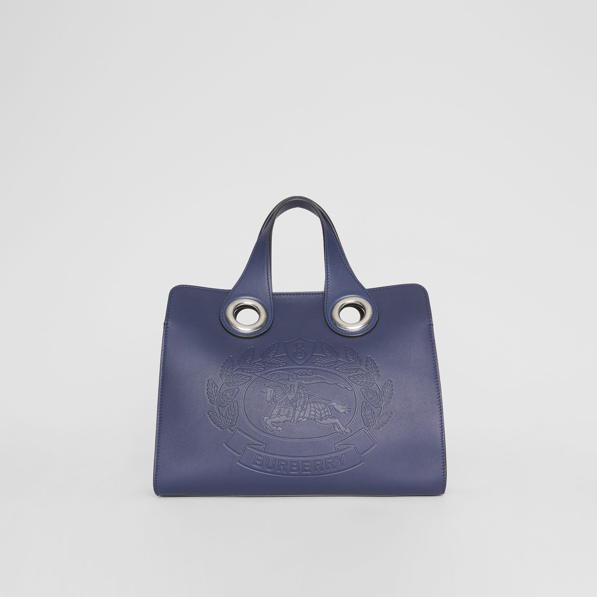 The Leather Crest Grommet Detail Tote in Regency Blue - Women | Burberry - gallery image 0