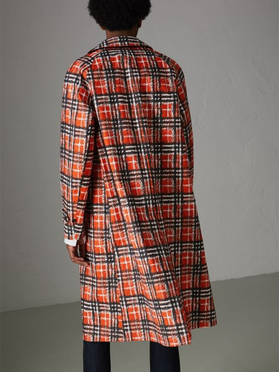 Scribble Check Cotton Car Coat in Bright Military Red - Men | Burberry - cell image 2