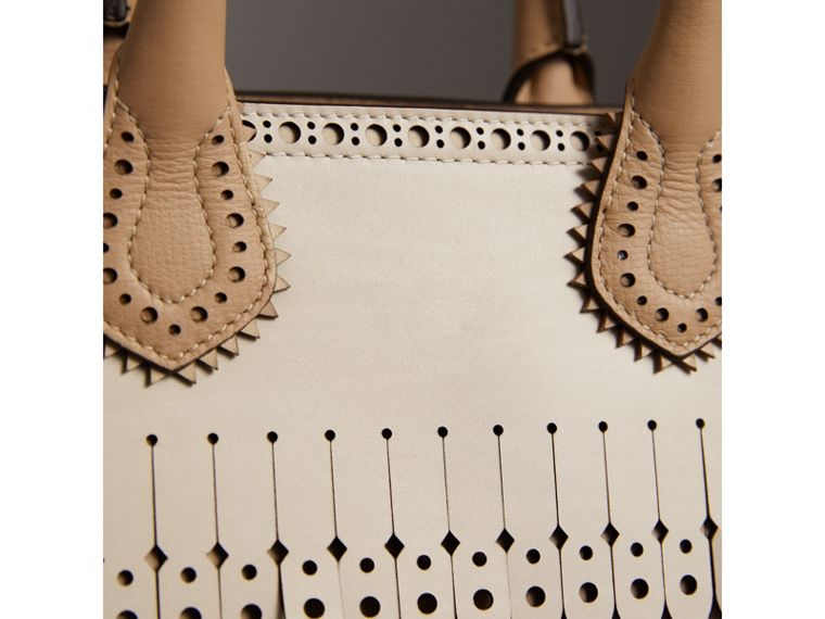 The Small Banner in Brogue Detail Leather in Chino - Women | Burberry United Kingdom - cell image 1