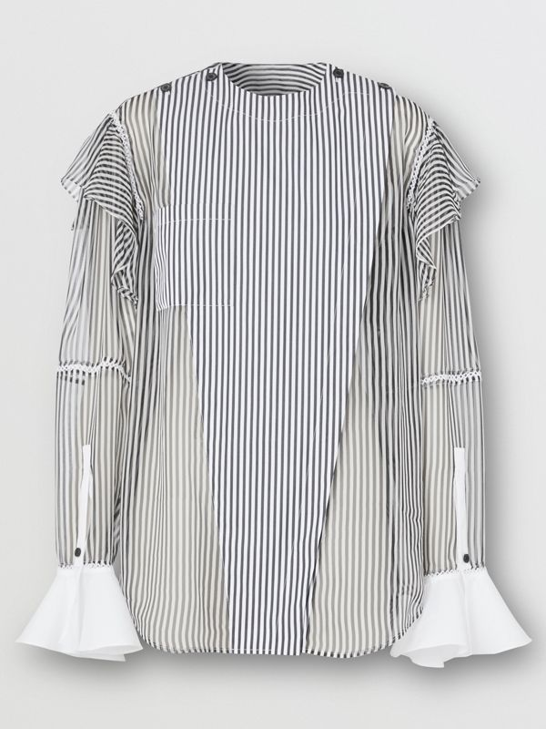 Ruffle Detail Striped Silk Chiffon Shirt in Black - Women | Burberry - cell image 3
