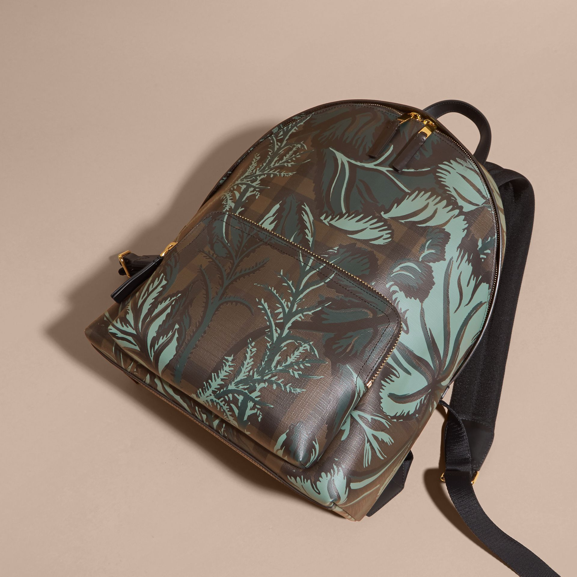 Leather Trim Floral Print London Check Backpack Chocolate - gallery image 7
