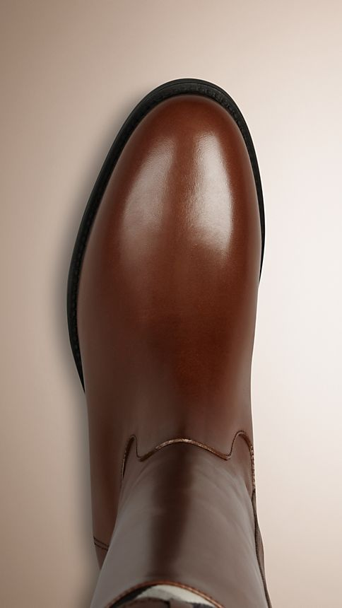 Dark tan House Check Detail Riding Boots - Image 4