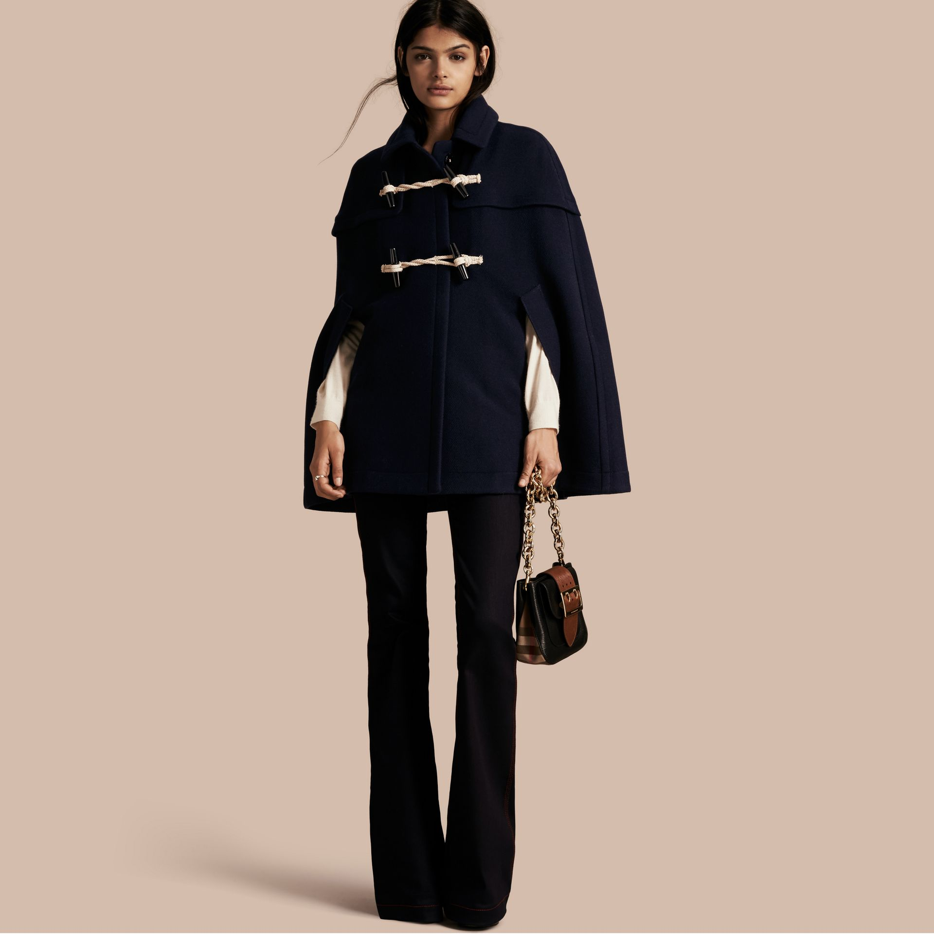 Navy Wool Cashmere Duffle Cape Coat Navy - gallery image 1