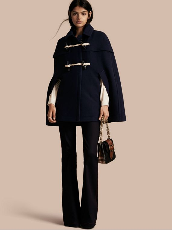 Wool Cashmere Duffle Cape Coat Navy