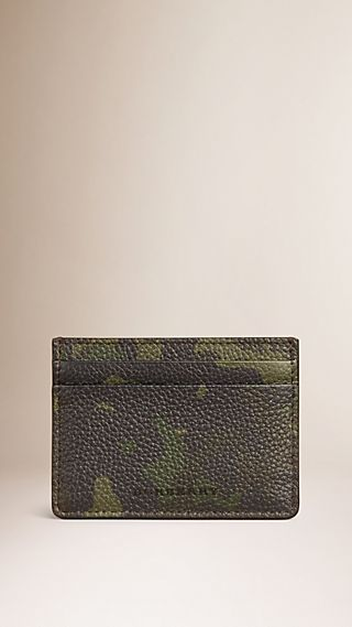 Camouflage Print Grainy Leather Card Case