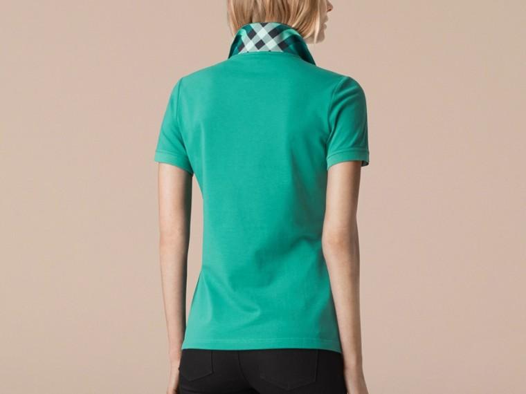 水綠色 格紋飾邊伸縮棉質珠地網眼 Polo 衫 水綠色 - cell image 1