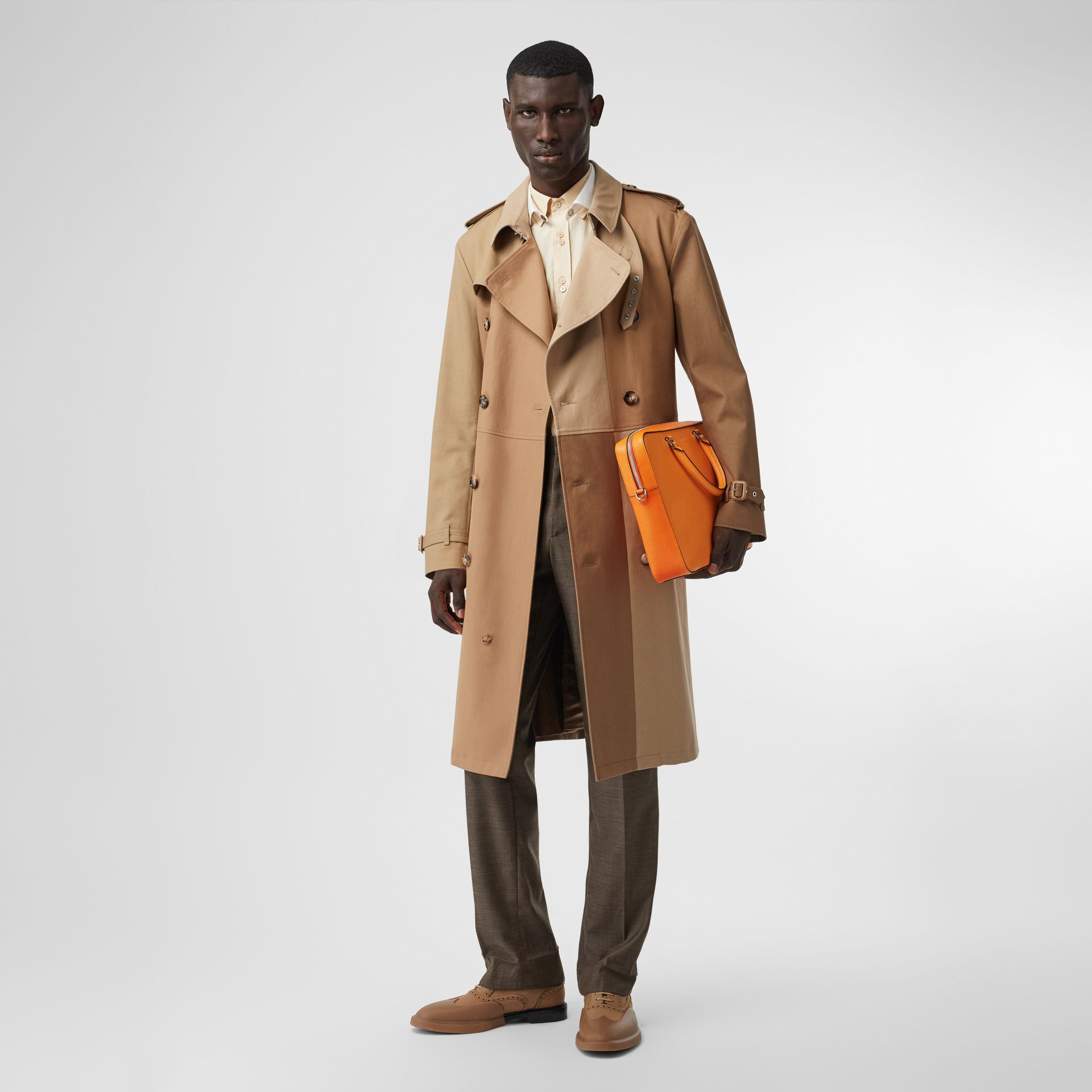 Grainy Leather Briefcase in Bright Orange - Men | Burberry - gallery image 5
