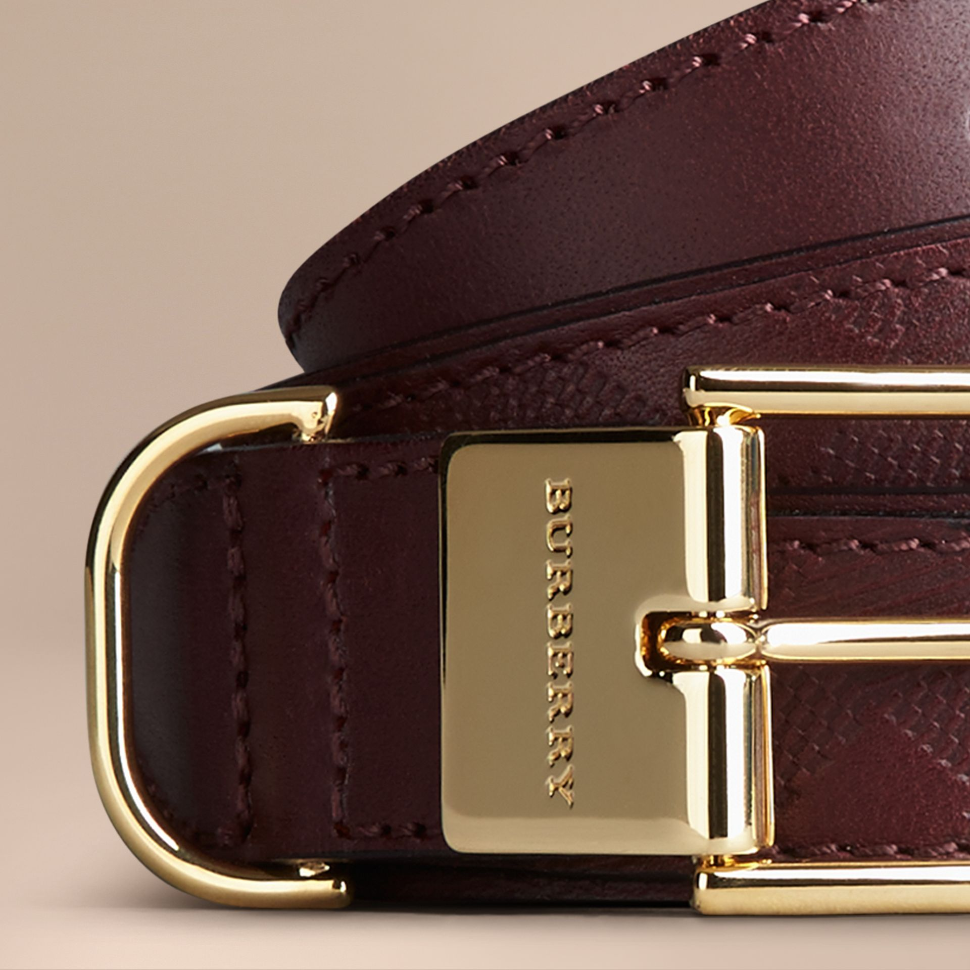 Deep claret Embossed Check London Leather Belt Deep Claret - gallery image 2