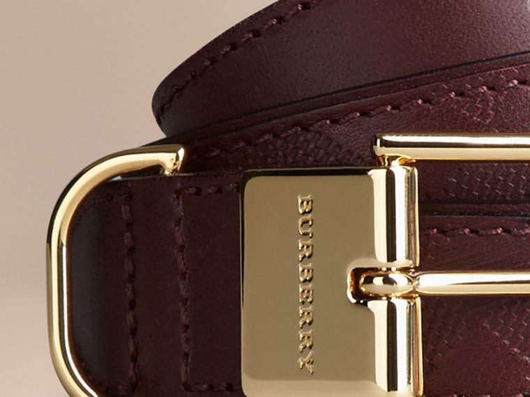 Deep claret Embossed Check London Leather Belt Deep Claret - cell image 1