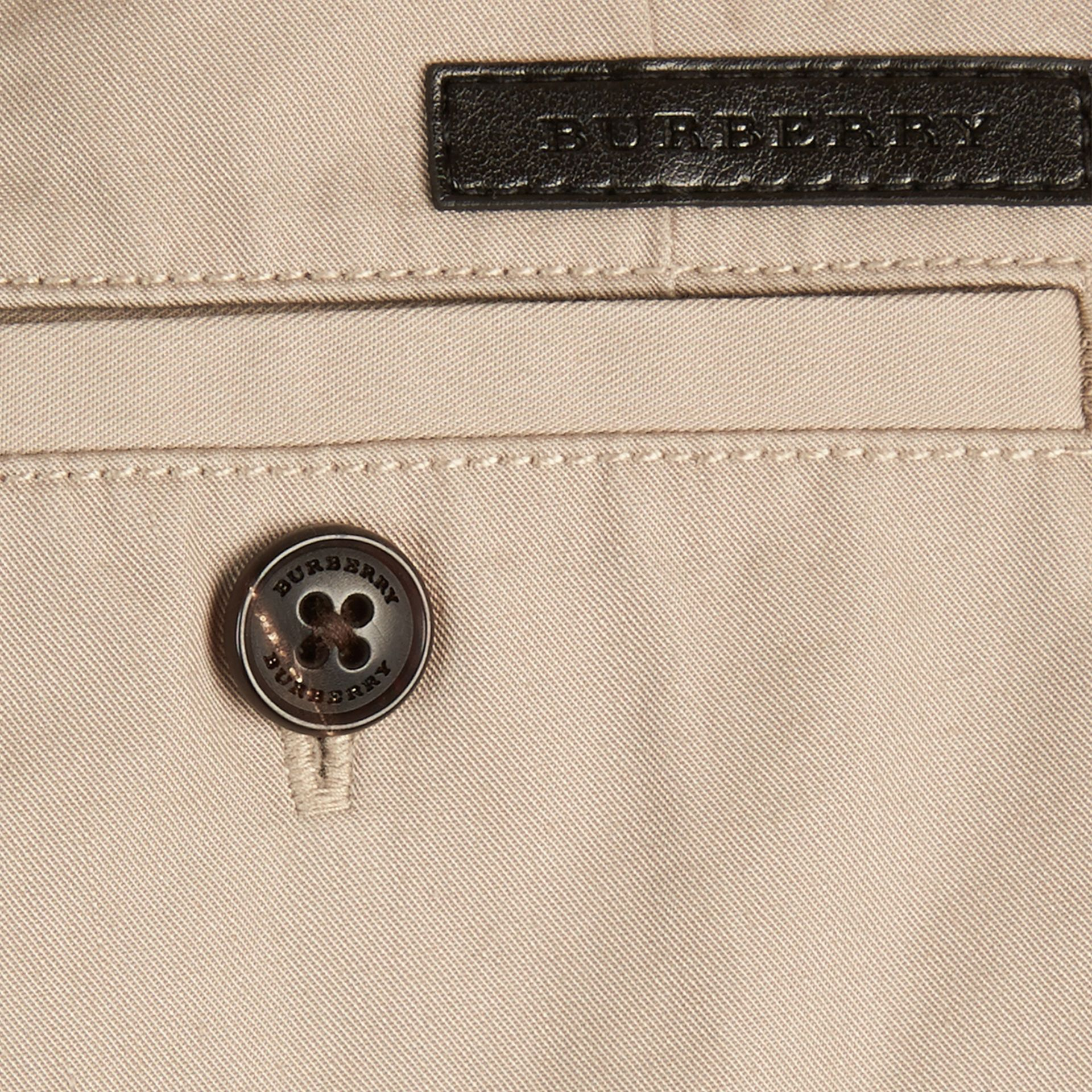 Check Detail Cotton Chino Shorts in Taupe - gallery image 2