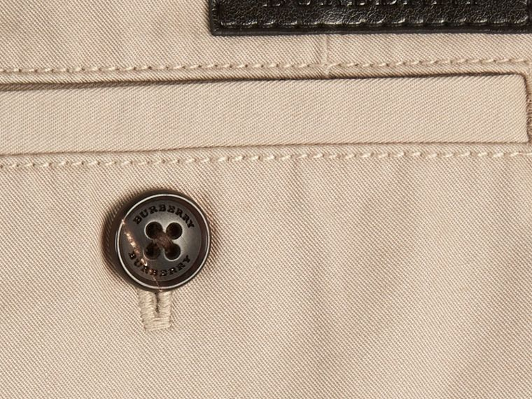 Taupe Check Detail Cotton Chino Shorts Taupe - cell image 1