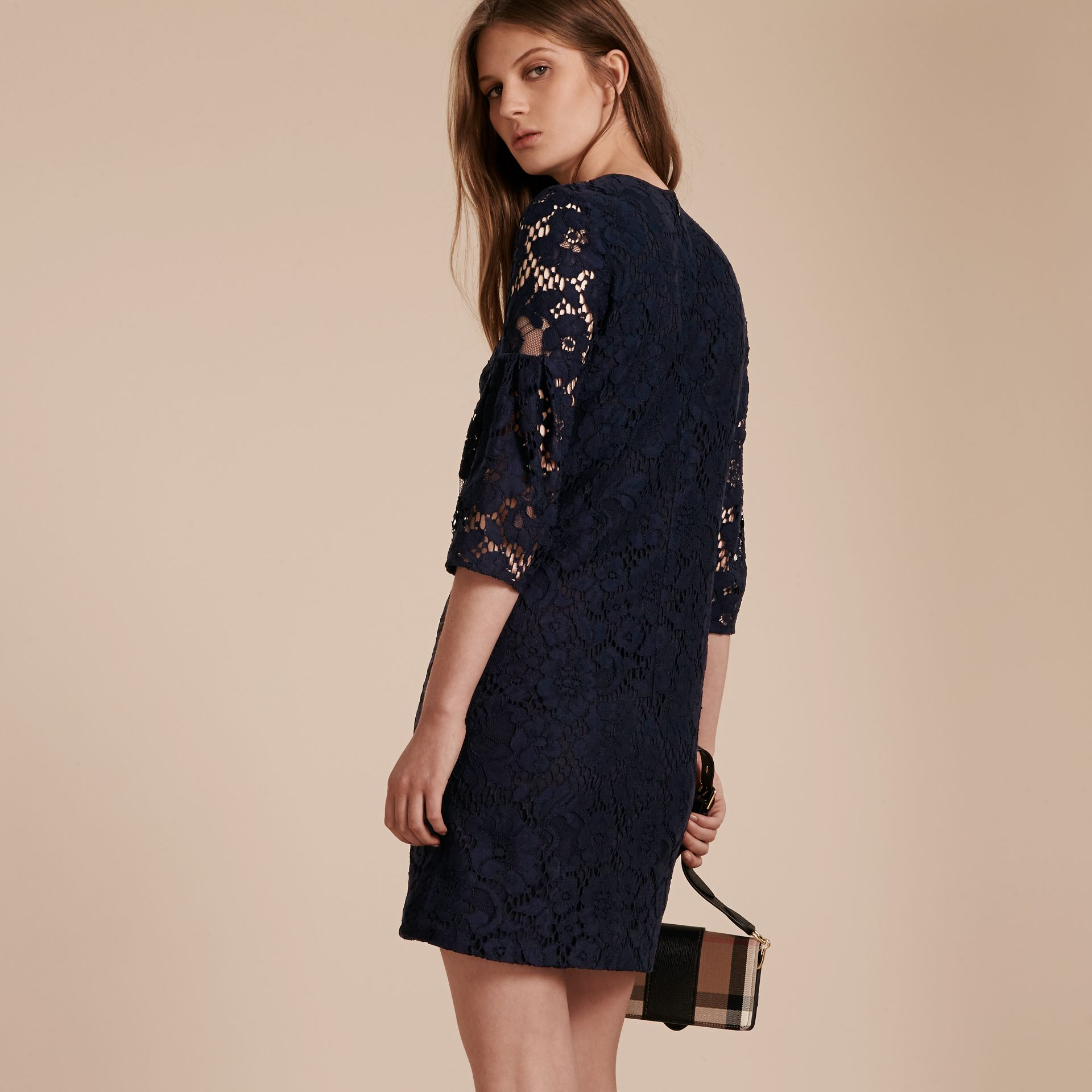 Navy Puff-sleeved Floral Lace Shift Dress - gallery image 3