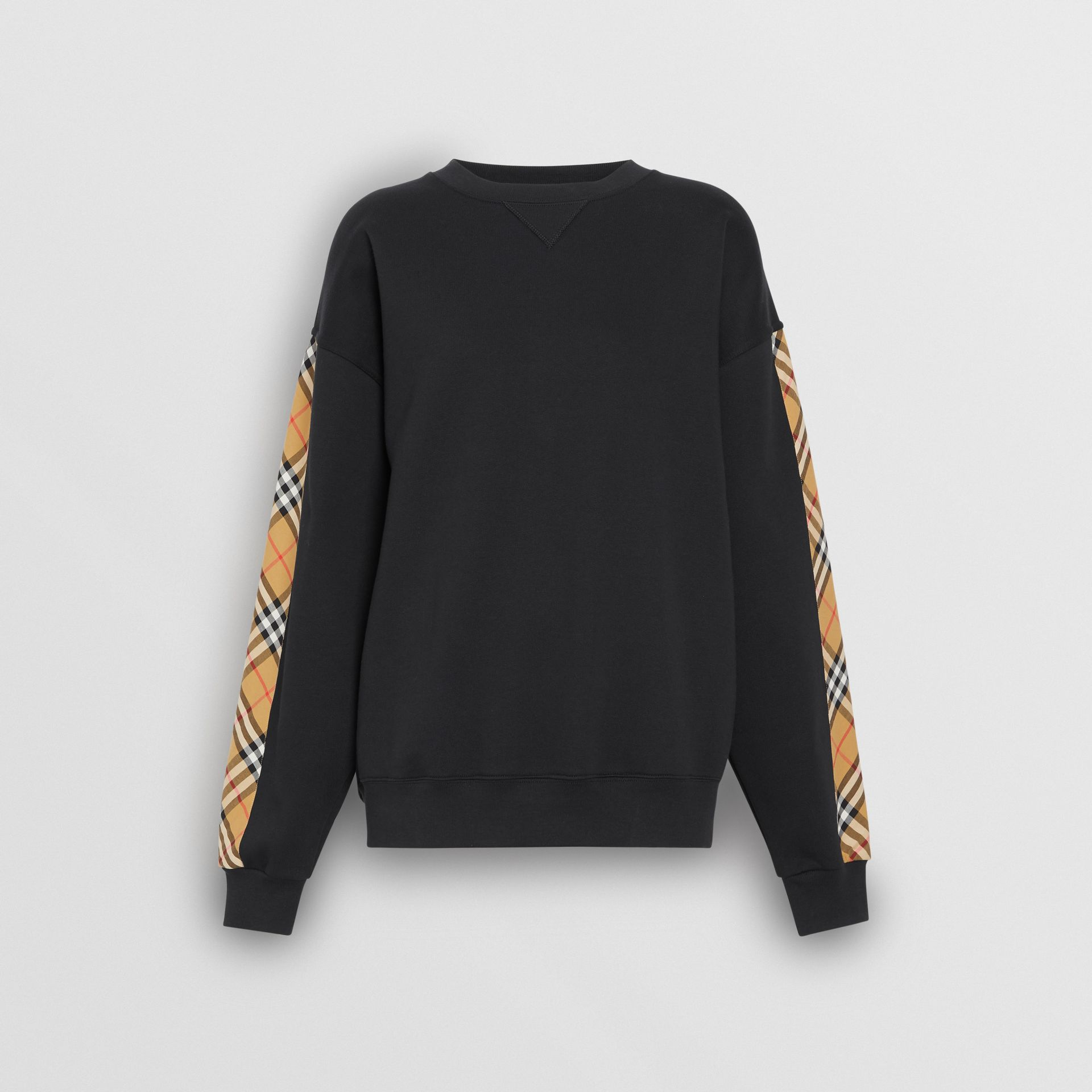 Vintage Check Detail Cotton Blend Sweatshirt in Black - Women | Burberry United Kingdom - gallery image 3
