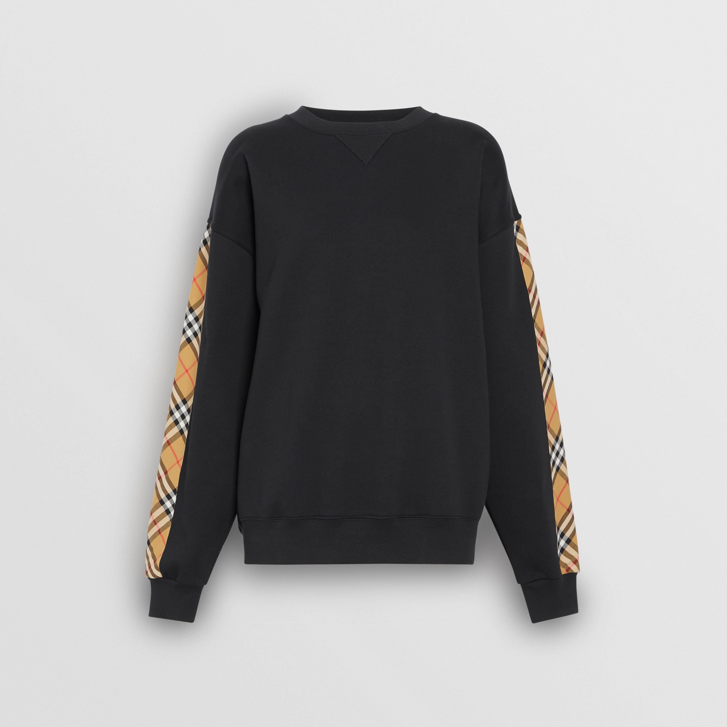 Vintage Check Detail Cotton Blend Sweatshirt in Black - Women | Burberry United States - 4
