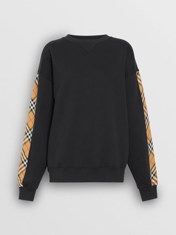 Vintage Check Detail Cotton Blend Sweatshirt in Black - Women | Burberry United Kingdom - cell image 3