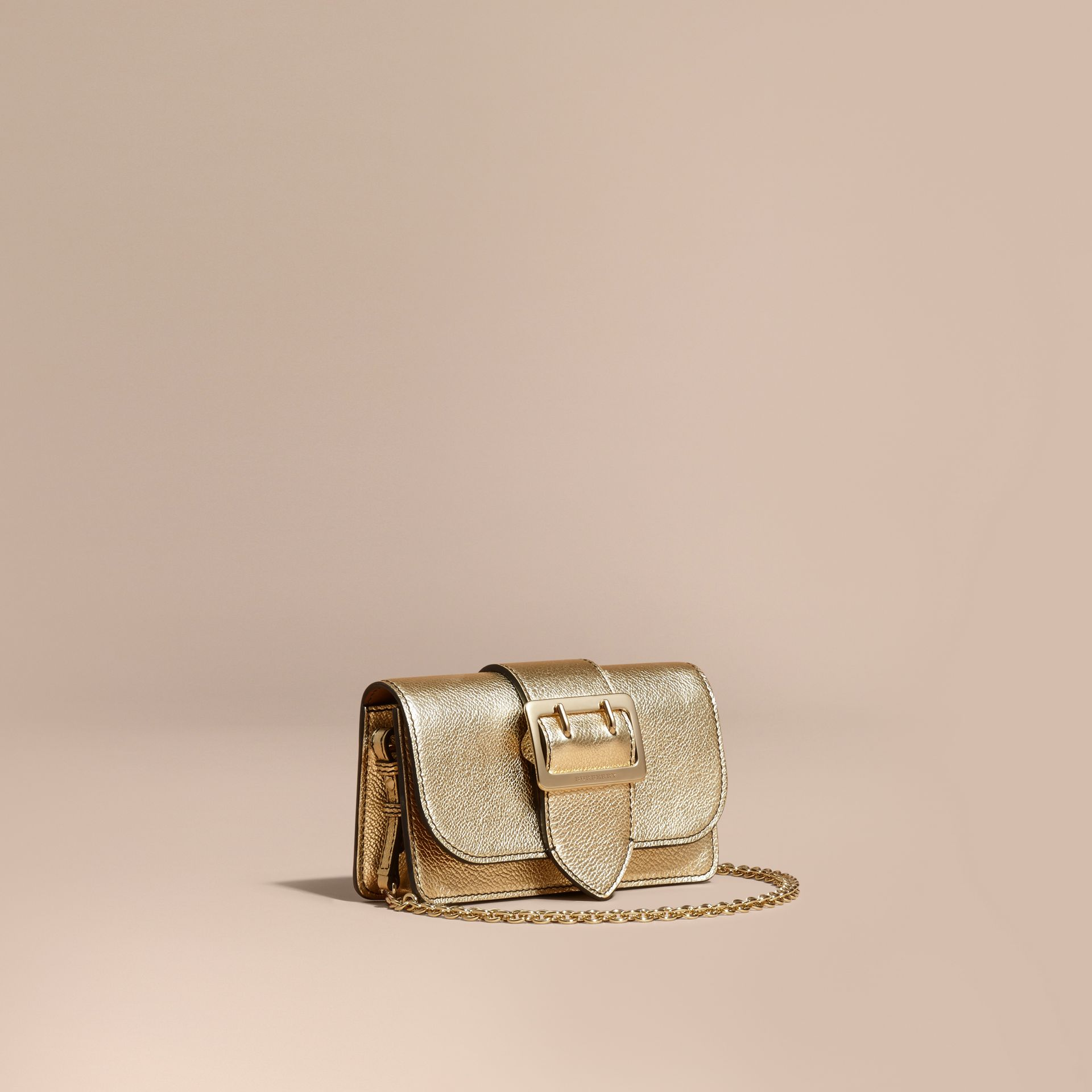 Gold The Mini Buckle Bag in Metallic Grainy Leather Gold - gallery image 1