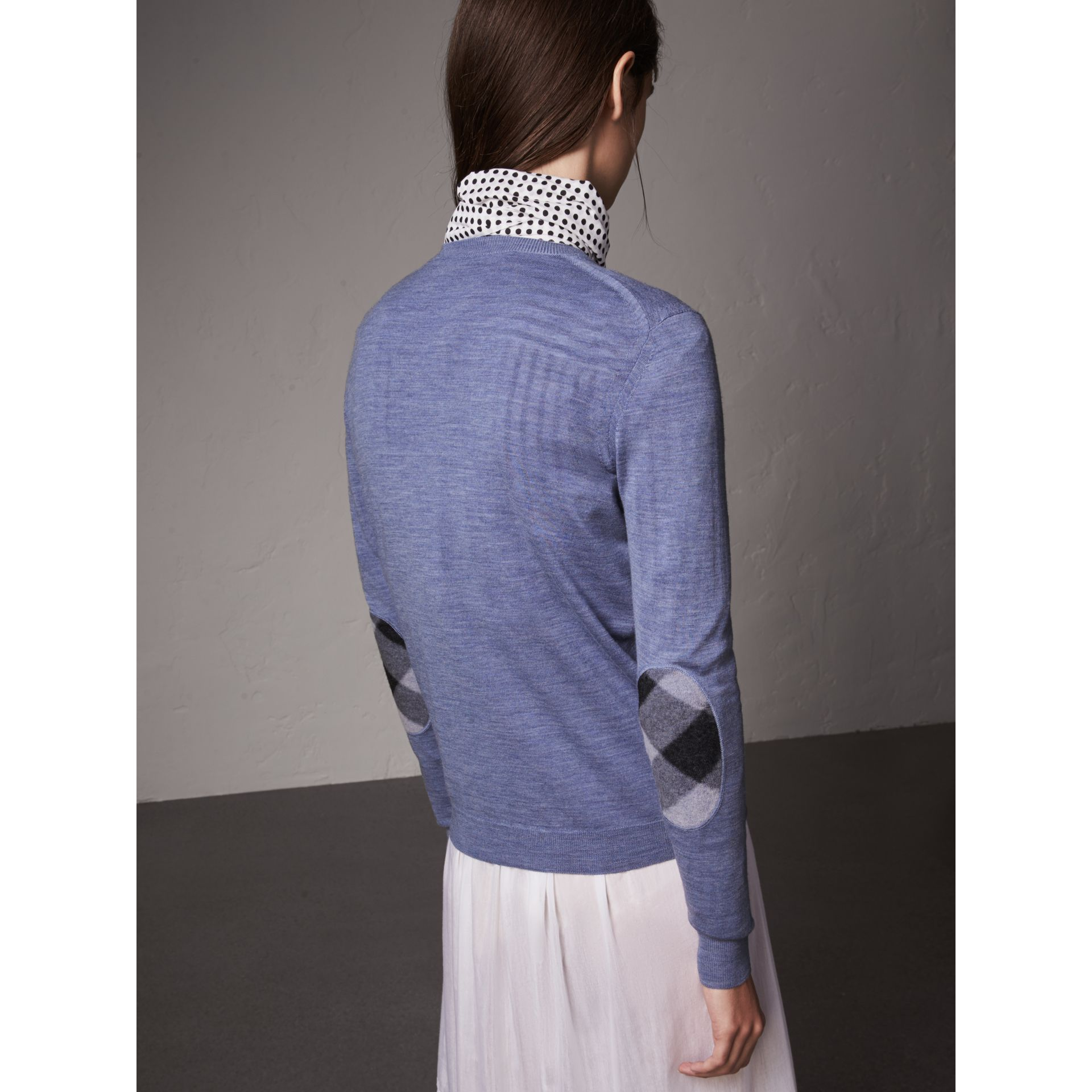 Check Detail Merino Wool Sweater in Indigo Blue - Women | Burberry - gallery image 3